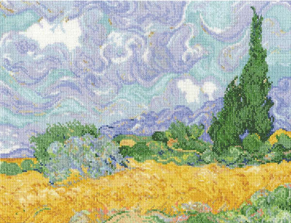 Житно поле с кипариси. По картина на Винсент ван Гог.